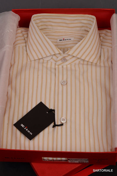 KITON NAPOLI Hand Made Ivory Striped Cotton Dress Shirt NEW US 16.5 / EU 42 - SARTORIALE - 1