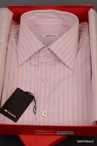 KITON NAPOLI Hand Made Pink Striped Cotton Fitted Shirt NEW US 17 / EU 43 - SARTORIALE - 1