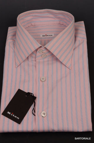 KITON NAPOLI Hand Made Pink Striped Cotton Fitted Shirt NEW US 17 / EU 43 - SARTORIALE - 2
