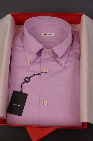 KITON NAPOLI Hand Made Purple Cotton Button Down Fitted Shirt NEW US 15.75 / 40 - SARTORIALE - 1