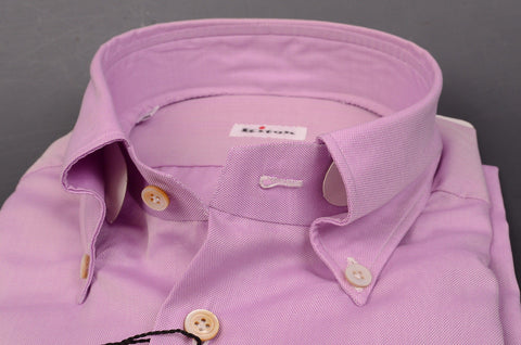 KITON NAPOLI Hand Made Purple Cotton Button Down Fitted Shirt NEW US 15.75 / 40 - SARTORIALE - 2