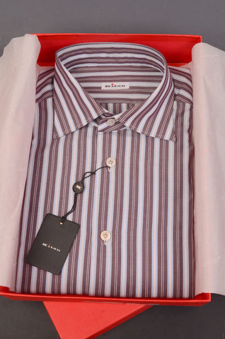 KITON NAPOLI Hand Made Purple-White Striped Cotton Dress Shirt NEW US 15.75 / 40 - SARTORIALE - 1