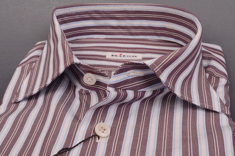 KITON NAPOLI Hand Made Purple-White Striped Cotton Dress Shirt NEW US 15.75 / 40 - SARTORIALE - 2