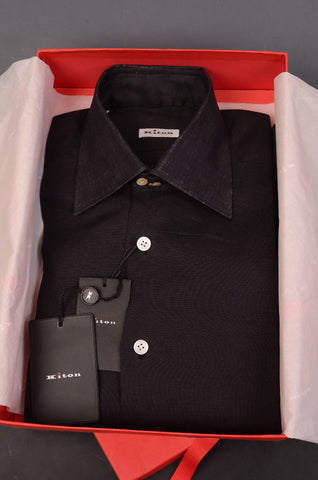 KITON NAPOLI Hand Made Solid Black Linen Fitted Shirt NEW US 15 / EU 38 - SARTORIALE - 1