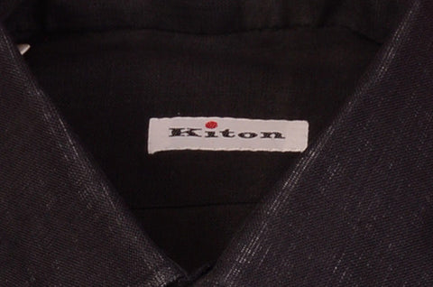 KITON NAPOLI Hand Made Solid Black Linen Fitted Shirt NEW US 15 / EU 38 - SARTORIALE - 2