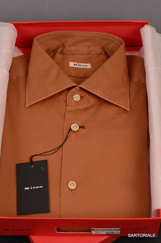 KITON NAPOLI Hand Made Solid Brown Cotton Shirt NEW US 16.5 / EU 42 - SARTORIALE - 1