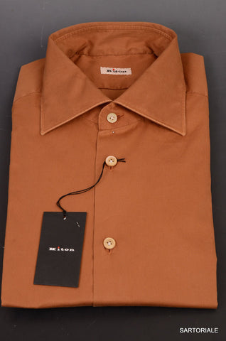 KITON NAPOLI Hand Made Solid Brown Cotton Shirt NEW US 16.5 / EU 42 - SARTORIALE - 2