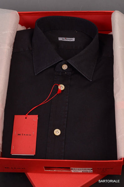 KITON NAPOLI Hand Made Solid Navy Blue Cotton Fitted Shirt NEW US 15.5 / M - SARTORIALE - 1
