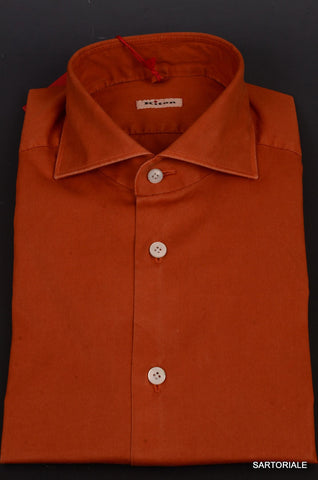 KITON NAPOLI Hand Made Solid Rust Cotton Fitted Shirt NEW US 15.5 / M - SARTORIALE - 2