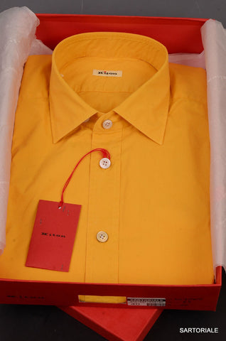 KITON NAPOLI Hand Made Solid Yellow Cotton Fitted Shirt NEW US 15.5 / EU 39 - SARTORIALE - 1