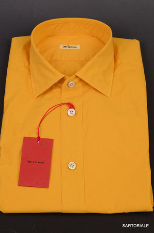 KITON NAPOLI Hand Made Solid Yellow Cotton Fitted Shirt NEW US 15.5 / EU 39 - SARTORIALE - 2