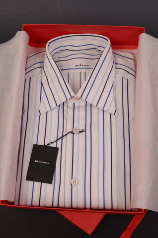KITON NAPOLI Hand Made White-Blue Striped Cotton Dress Shirt NEW US 16 / EU 41 - SARTORIALE - 1
