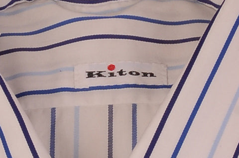 KITON NAPOLI Hand Made White-Blue Striped Cotton Dress Shirt NEW US 16 / EU 41 - SARTORIALE - 2