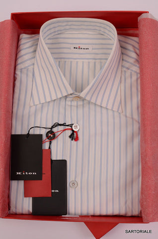 KITON NAPOLI Hand Made White - Blue Striped Cotton Shirt NEW US 16.5 / EU 42 - SARTORIALE - 1