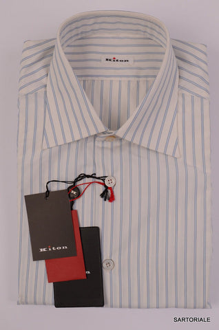 KITON NAPOLI Hand Made White - Blue Striped Cotton Shirt NEW US 16.5 / EU 42 - SARTORIALE - 2