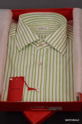 KITON NAPOLI Hand Made White-Green Striped Cotton Dress Shirt NEW US 17 / EU 43 - SARTORIALE - 1