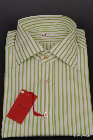 KITON NAPOLI Hand Made White-Green Striped Cotton Dress Shirt NEW US 17 / EU 43 - SARTORIALE - 2