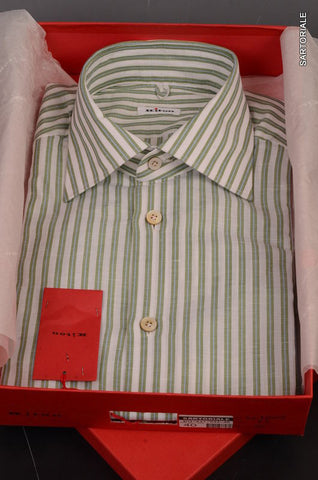KITON NAPOLI Hand Made White-Green Striped Cotton-Linen Shirt NEW US 15.5 / 39 - SARTORIALE - 1