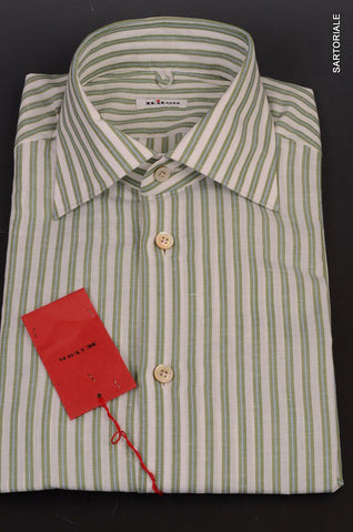 KITON NAPOLI Hand Made White-Green Striped Cotton-Linen Shirt NEW US 15.5 / 39 - SARTORIALE - 2