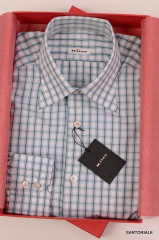 KITON NAPOLI Hand Made White Plaid Cotton Shirt NEW US 15.75 / EU 40 - SARTORIALE - 1