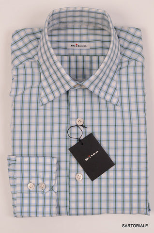KITON NAPOLI Hand Made White Plaid Cotton Shirt NEW US 15.75 / EU 40 - SARTORIALE - 2
