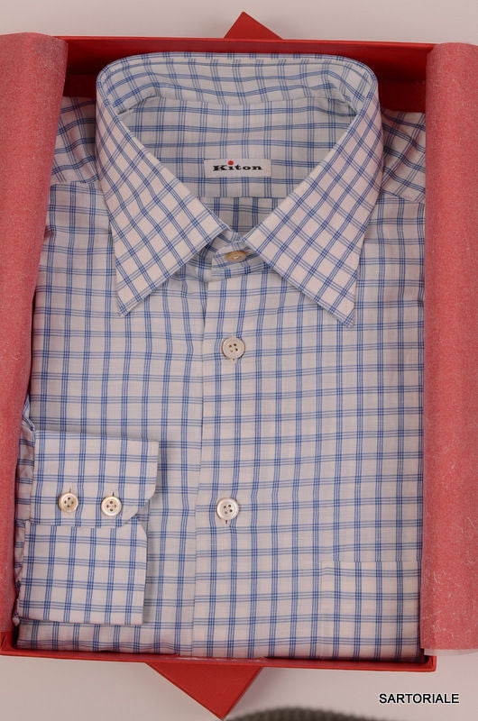 eb8d913b7e KITON NAPOLI Hand Made White Plaid Cotton Shirt NEW US 16.5   EU 42 -  SARTORIALE