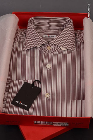 KITON NAPOLI Hand Made White-Plum Striped Dress Shirt NEW 15.5 / 39 French Cuff - SARTORIALE - 1