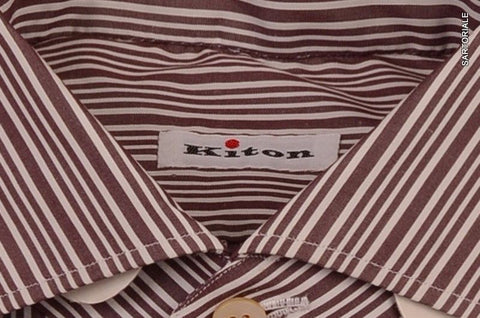 KITON NAPOLI Hand Made White-Plum Striped Dress Shirt NEW 15.5 / 39 French Cuff - SARTORIALE - 2