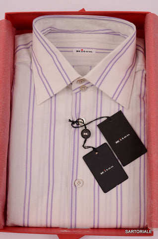 KITON NAPOLI Hand Made White-Purple Striped Linen-Cotton Shirt NEW US 16.5 / 42 - SARTORIALE - 1