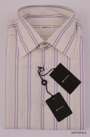 KITON NAPOLI Hand Made White-Purple Striped Linen-Cotton Shirt NEW US 16.5 / 42 - SARTORIALE - 2