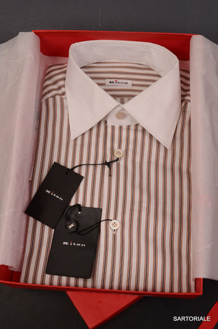 KITON NAPOLI Hand Made White Striped Cotton Dress Shirt NEW US 15.75 / EU 40 - SARTORIALE - 1