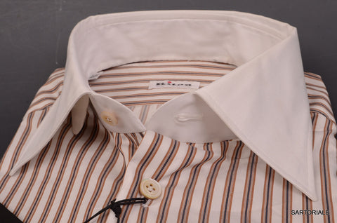 KITON NAPOLI Hand Made White Striped Cotton Dress Shirt NEW US 15.75 / EU 40 - SARTORIALE - 2