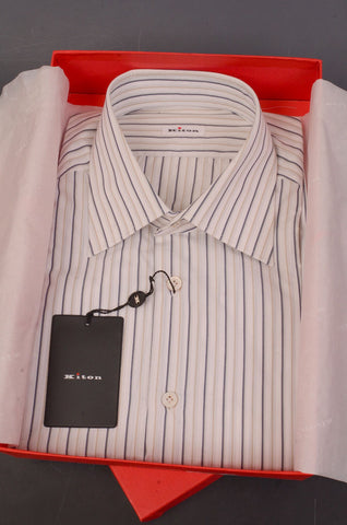 KITON Napoli White-Beige-Olive Striped Cotton Dress Shirt NEW - SARTORIALE - 1