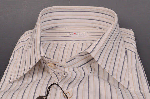 KITON Napoli White-Beige-Olive Striped Cotton Dress Shirt NEW - SARTORIALE - 2