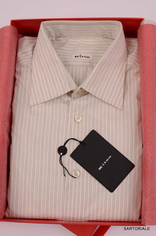KITON Napoli White-Gray-Beige Striped Cotton Shirt NEW US 17 / EU 43 French Cuff - SARTORIALE - 1