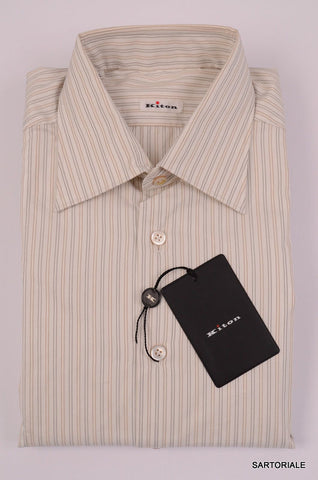 KITON Napoli White-Gray-Beige Striped Cotton Shirt NEW US 17 / EU 43 French Cuff - SARTORIALE - 2