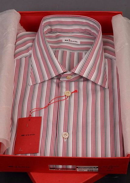 KITON Napoli White-Red-Black Striped Cotton Dress Shirt NEW - SARTORIALE - 1