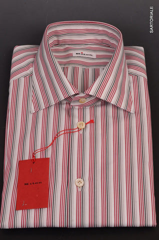 KITON Napoli White-Red-Black Striped Cotton Dress Shirt NEW - SARTORIALE - 2