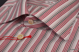 KITON Napoli White-Red-Black Striped Cotton Dress Shirt NEW - SARTORIALE - 4