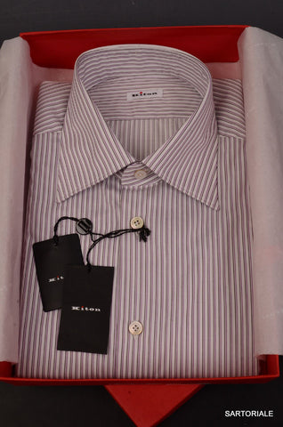 KITON White-Black-Purple Striped Cotton Fitted Shirt NEW French Cuff - SARTORIALE - 1