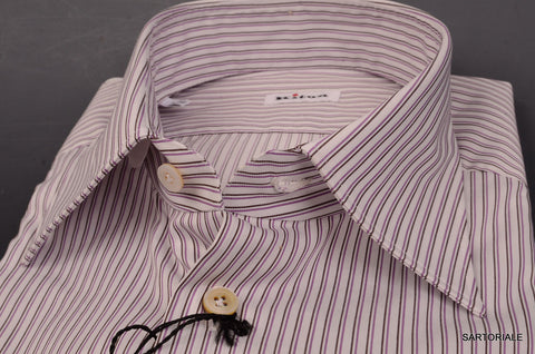 KITON White-Black-Purple Striped Cotton Fitted Shirt NEW French Cuff - SARTORIALE - 2