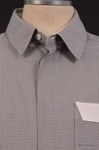 KRIS VAN ASSCHE Gray White Plaid Cotton Shirt US S NEW IT 48 - SARTORIALE - 2
