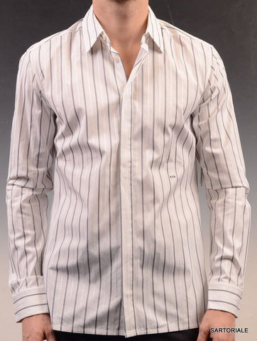 KRIS VAN ASSCHE White Gray Striped Cotton Slim Fit Dress Shirt US S NEW EU 48 - SARTORIALE - 1