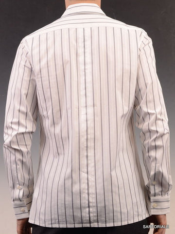 KRIS VAN ASSCHE White Gray Striped Cotton Slim Fit Dress Shirt US S NEW EU 48 - SARTORIALE - 4
