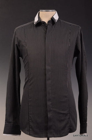Les Hommes Black Striped Cotton Dress Shirt US S NEW EU 48 Slim Fit - SARTORIALE - 1