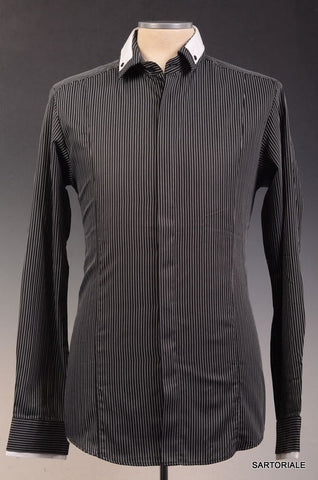 Les Hommes Black Striped Cotton Dress Shirt US S NEW EU 48 Slim Fit - SARTORIALE - 2