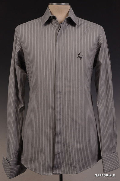 Les Hommes Gray Striped Cotton Shirt US XS NEW EU 46 Slim Fit French Cuff - SARTORIALE - 1