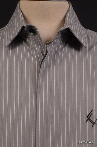Les Hommes Gray Striped Cotton Shirt US XS NEW EU 46 Slim Fit French Cuff - SARTORIALE - 2