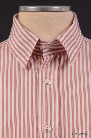 LUCIANO BARBERA Made In Italy Red Striped Shirt NEW SIZE M - SARTORIALE - 2