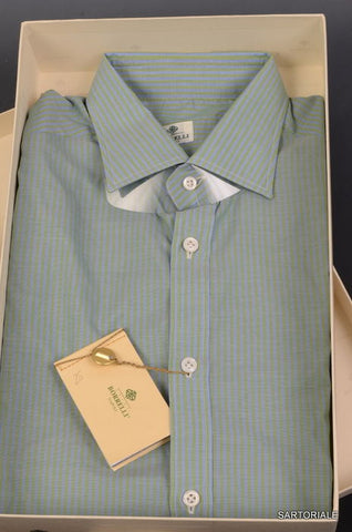 LUIGI BORRELLI Napoli Blue-Green Striped Cotton Shirt NEW US 15.75 / EU 40 - SARTORIALE - 1